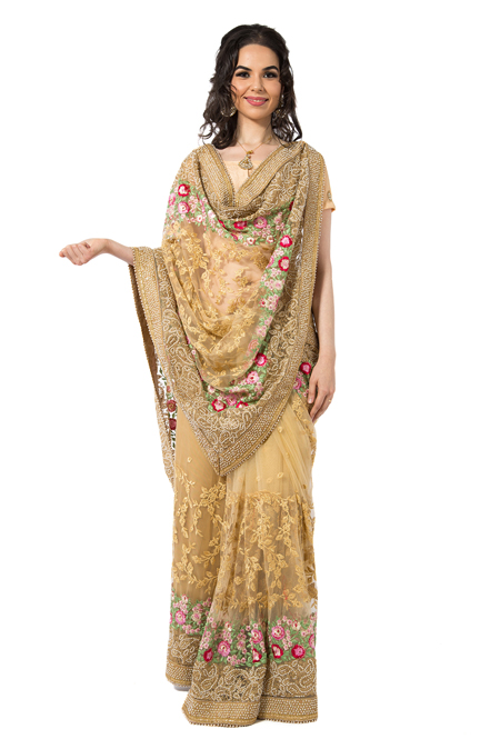 Embroidered gold net saree