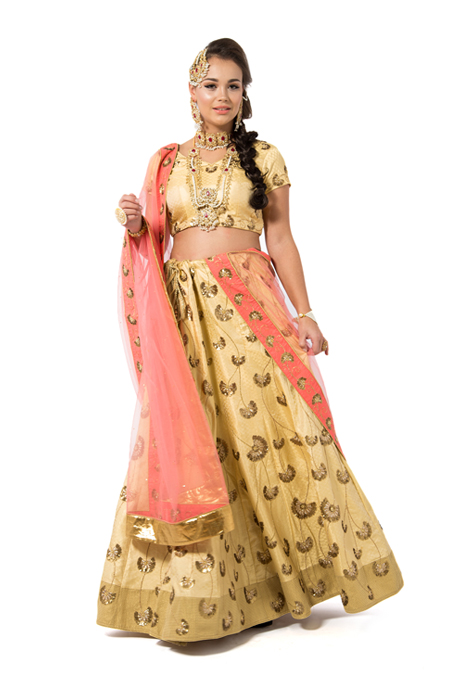 Pink and Yellow Embroidered Lehenga