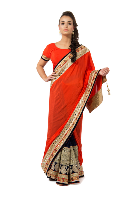 Red And Navy Blue Embroidered Saree