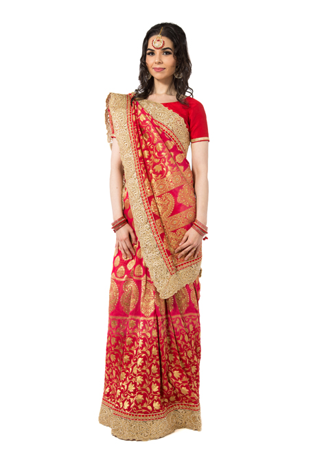 Red Sari with golden blouse