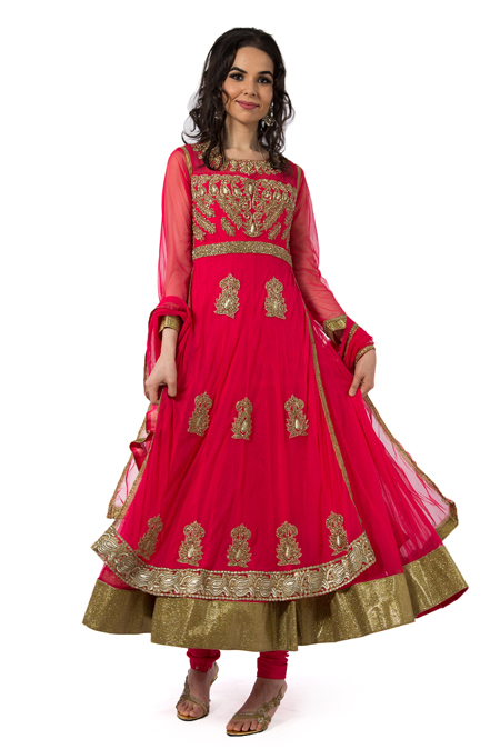 Pink Embroidered Anarkali Set with side slit