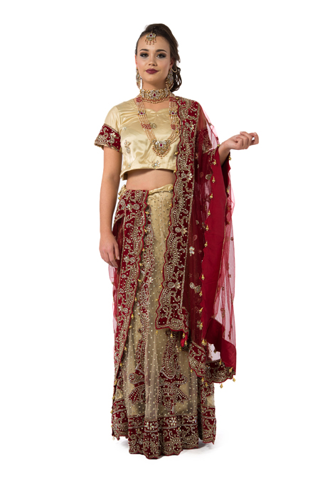 Maroon And Gold Embroidered Bridal Lehenga Set
