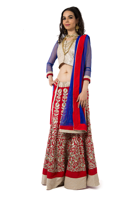 Embroidered Red Lehenga Set with electric blue dupatta