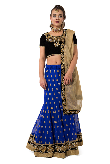 Black Velvet blouse paired with Blue Lehenga Set