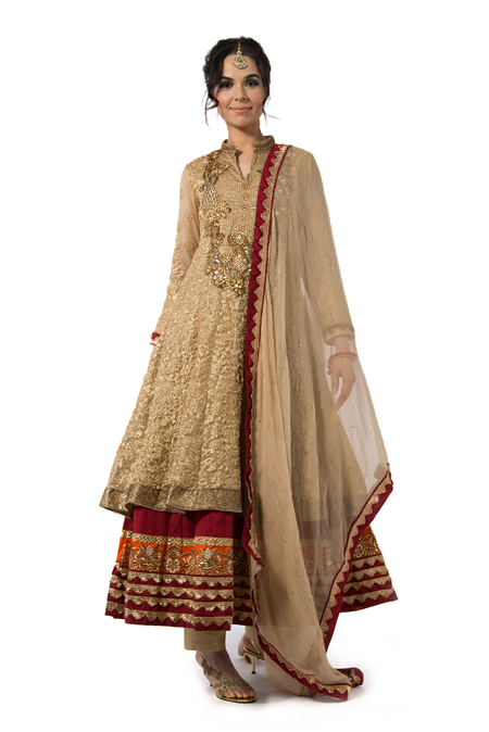 Two Tier Gold and Red Embroidered Anarkali with Dupatta