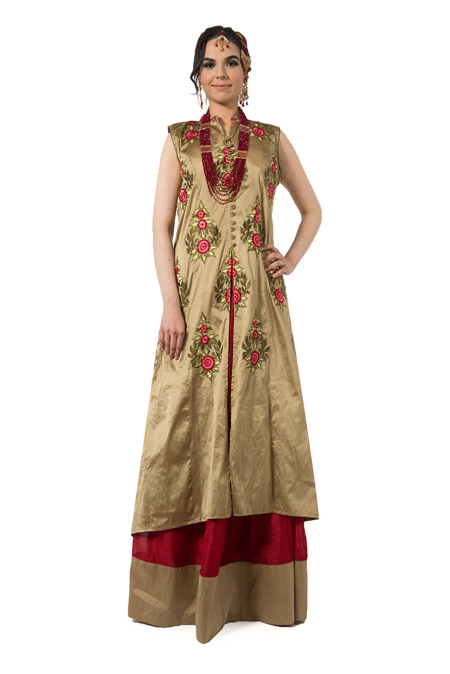 Gold Anarkali with Lehenga Skirt