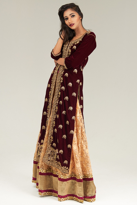 Wine Velvet Embroidered Jacket with Golden Net Embroidered