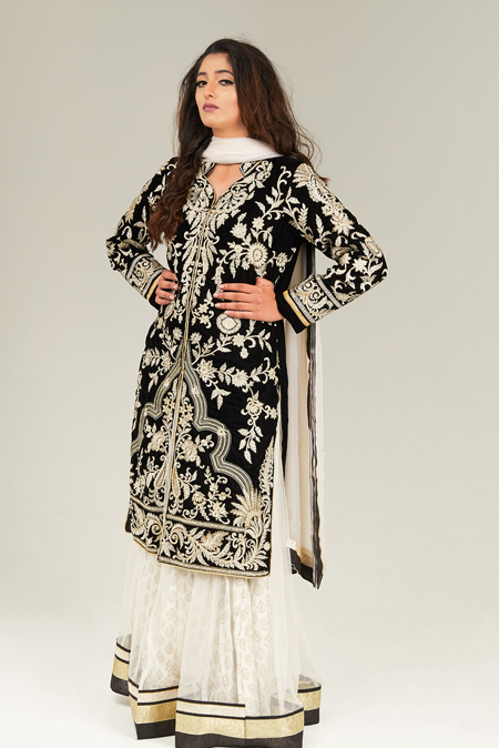 Embroidered black and off-white lehenga style anarkali suit