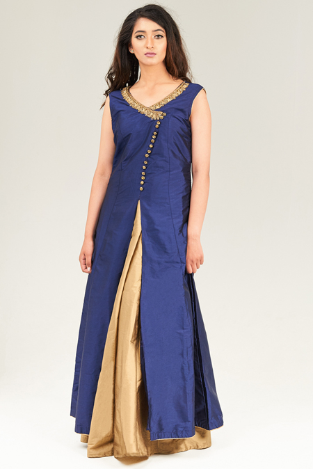Blue Silk Asymmetrical Style Kurta Set with Golden Dupatta and