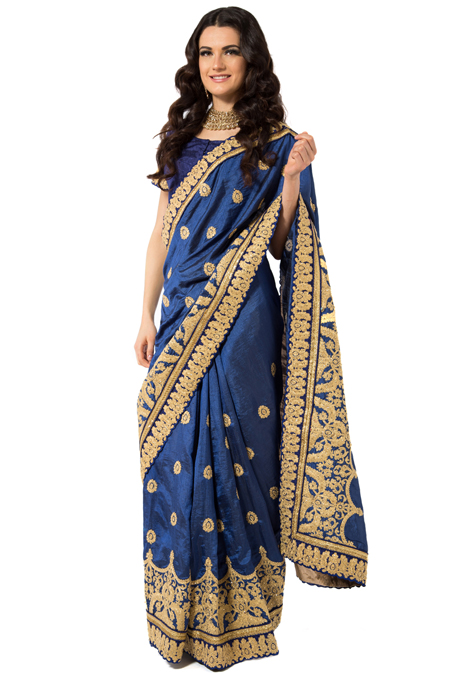 Royal Blue Raw Silk Embroidered Saree