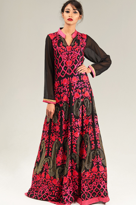 Black Floor length anarkali with floral embroidery