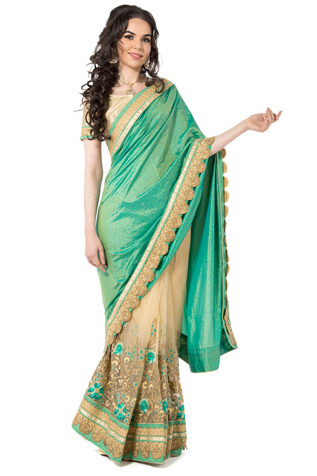 Sea Green Gold Net Half & Half Designer Saree