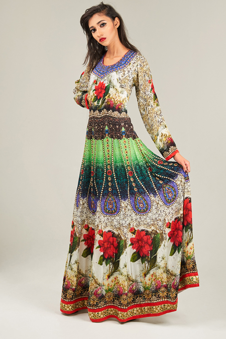 Multi-colour digital printed anarkali