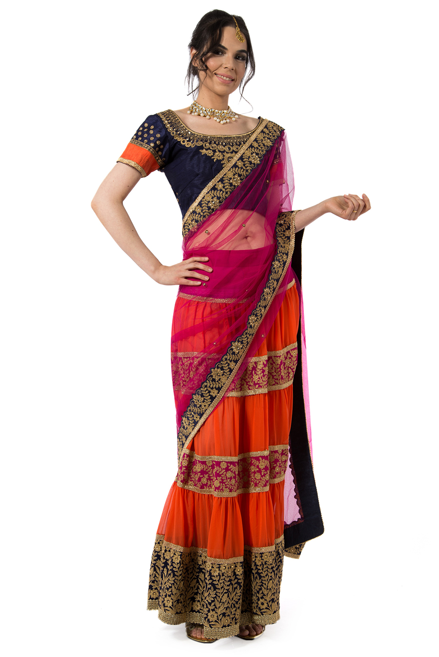 Emerald Cobalt Blue, Orange, and Pink Lehenga Saree