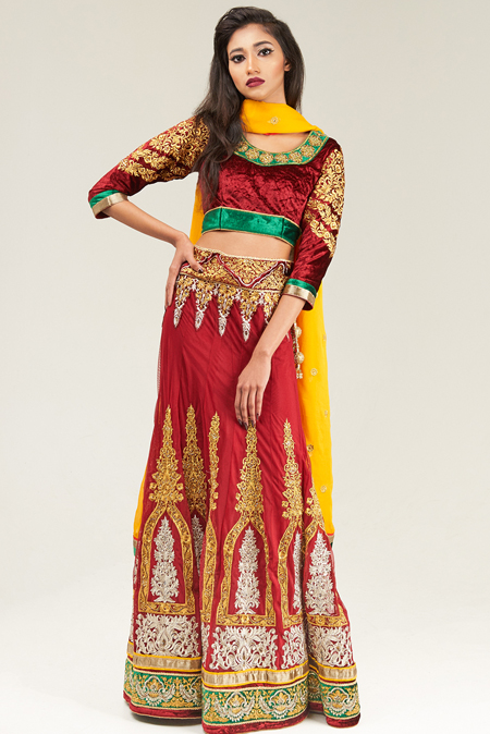 Embroidered Red Velvet Lehenga Set with a Light Orange Dupatta