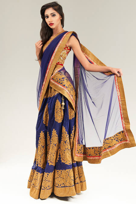 Red and Royal Blue lehenga Set with Dupatta