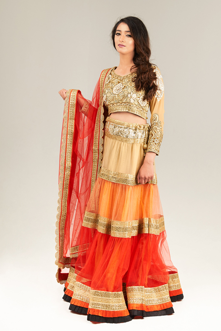 Three colour lehenga set